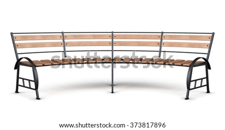 Park bench arc on a white background. Front view. 3d render image. - stock photo
