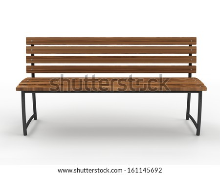 Park Bench isolated on white background - stock photo