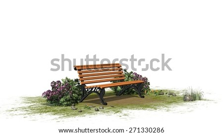 Park bench with grass and bushes  - separated on white background - stock photo