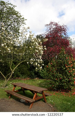 Park bench with table in Hyde Park, London, England - stock photo