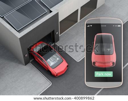 Park car by automatic parking app concept. 3D rendering image. - stock photo