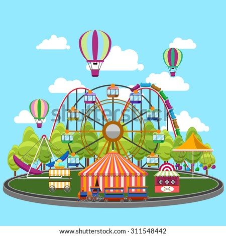 Park Carousel in flat design - stock photo