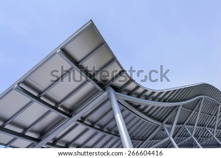 park design metal canopy as protection from the sun and is weatherproof - stock photo