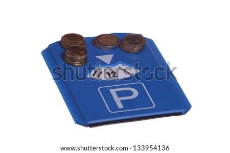 park disc with european coins - stock photo