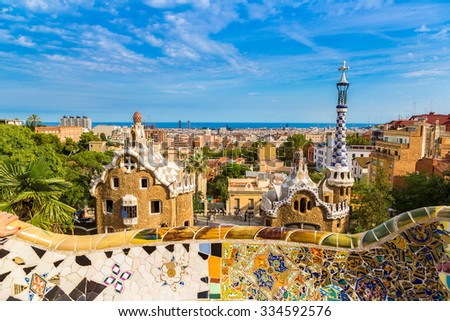 Park Guell by architect Gaudi in a summer day  in Barcelona, Spain.