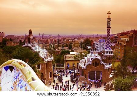 Park Guell  designed by Antonio Gaudi, Barcelona, Spain - stock photo