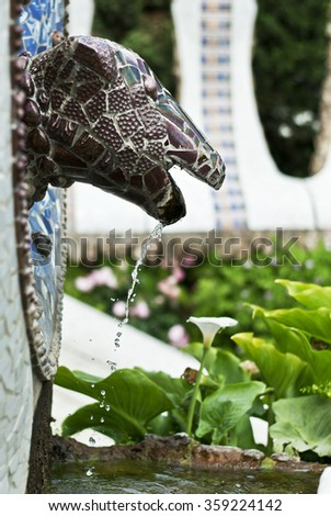 Park Guell in Barcelona snake of Antonio Gaudi - stock photo