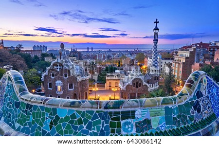 Park Guell In Barcelona Spain At Sunrise With Gaudi Architecture