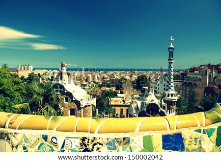 """Park Guell in Barcelona, Spain. It is part of the UNESCO World Heritage Site """"Works of Antoni Gaudi. - stock photo"""