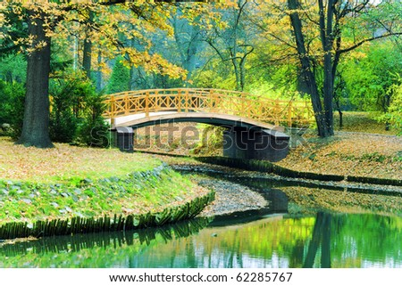 Park in fall  time - stock photo