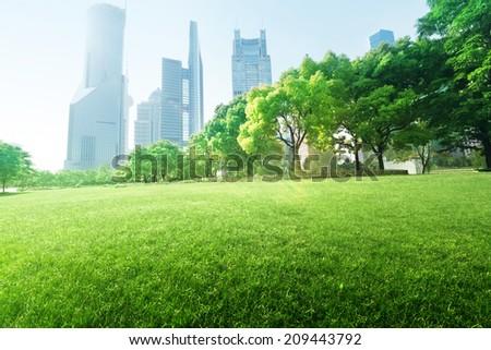 park in  lujiazui financial center, Shanghai, China - stock photo