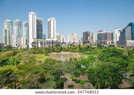Park in Modern city view of Bangkok, Thailand. Cityscape - stock photo