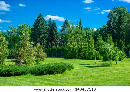 Park Landscape Green Grass Trees Blue Lagerfoto 140439118 ...