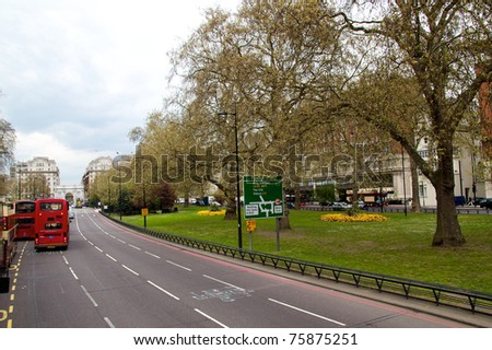 Park Lane Street, Westminster, besides Hyde Park in front of Marble Arch, London - UK - stock photo