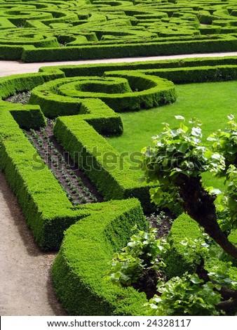 Park of castle - Czech republic Dobris - stock photo