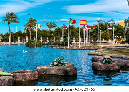 Park of Nations in Torrevieja city. It is dedicated to the nations of Europe. Alicante. Costa Blanca. Spain - stock photo