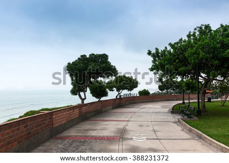 park on the shores of the Pacific Ocean - stock photo