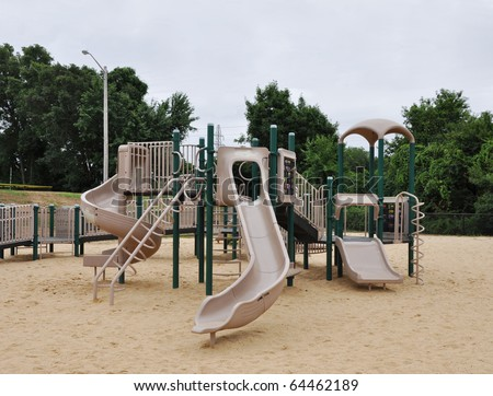 Park Playground Jungle Gym Exercise Equipment Overcast Day - stock photo