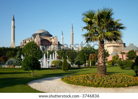 park with palm near of Holy Wisdom mosque in Istanbul