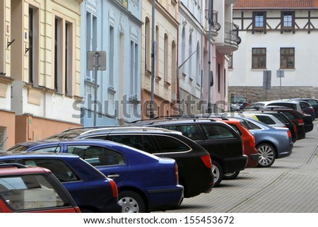 parked cars in Karlovy Vary - stock photo