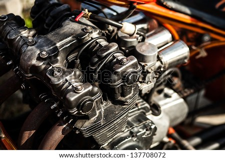 Parked motorcycle. Close-up detail. - stock photo