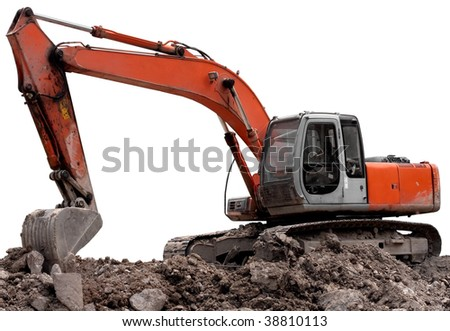 Parked orange digger isolated on a white background