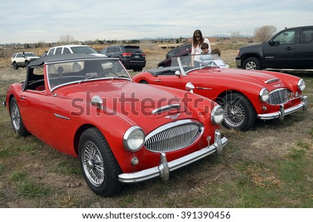 PARKER, COLORADO - MARCH 12, 2016: Austin-Healey 3000, British sports car built from 1959 to 1967