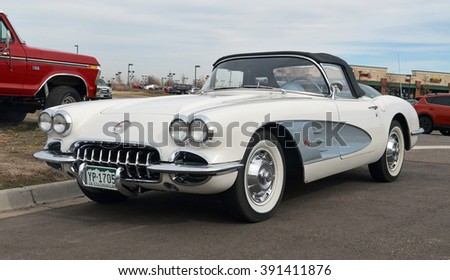 PARKER, COLORADO - MARCH 12, 2016: Chevrolet Corvette Convertible 1960