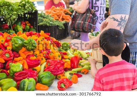 Parker, Colorado, USA-July 26, 2015. Local produce at the summer farmers market in the city.