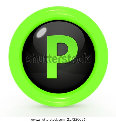 Parking circular icon on white background