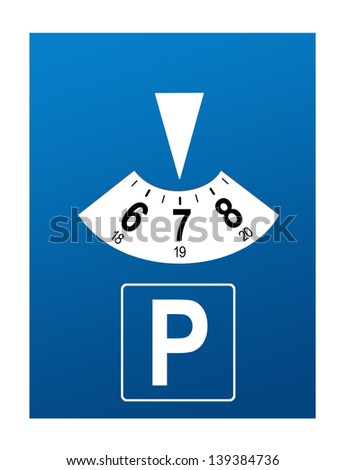 Parking disk isolated on white background - stock photo