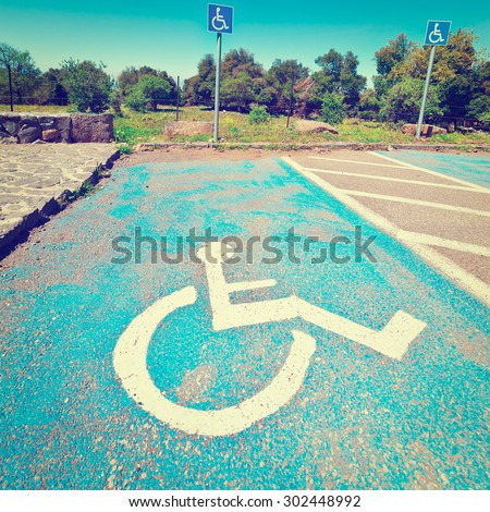 Parking for Disabled People on the Golan Heights in Israel, Instagram Effect - stock photo