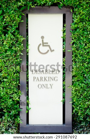 Parking for disabled persons sign   - stock photo