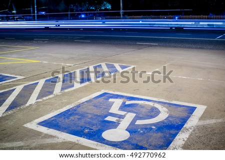 Parking for the disabled at night.