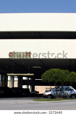 parking garage entrance - stock photo