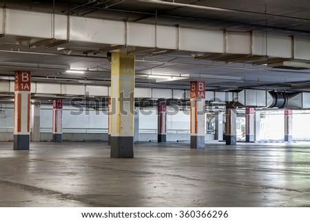 Parking garage interior, industrial building,Empty underground  - stock photo