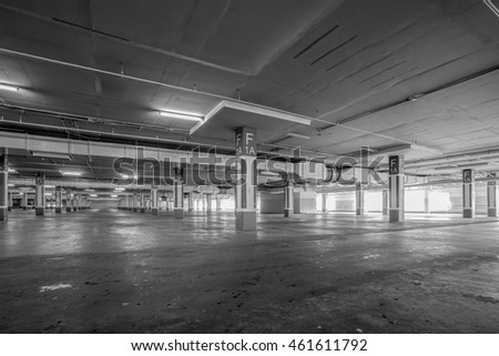 Parking garage interior, industrial building,Empty underground parking background