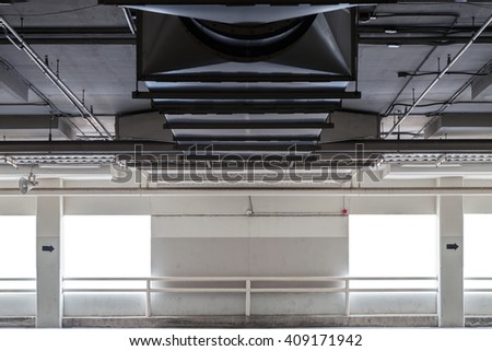 Parking garage interior, industrial building,Empty underground parking background,copy space for text. - stock photo