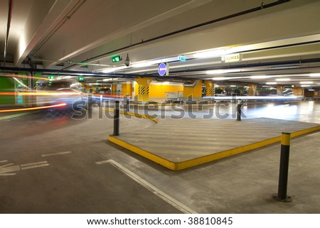 parking interior / underground garage - stock photo