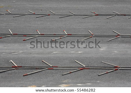 Parking lot at chinese temple Thailand - stock photo