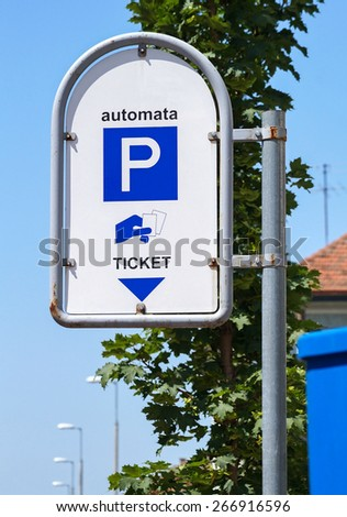 Parking lot ticket traffic sign - stock photo