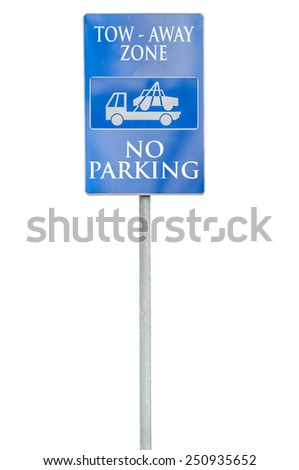 Parking lot with number of authoriszd parking sign with tow tru - stock photo