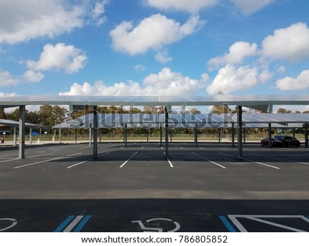 parking lot with solar panel carports
