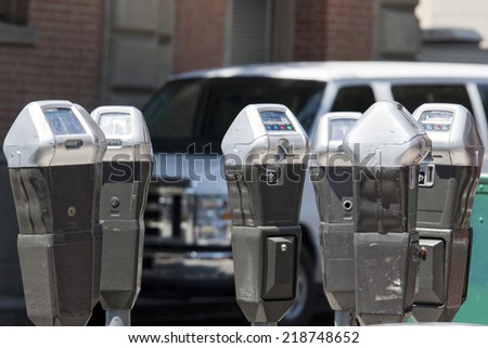 parking meter on street background