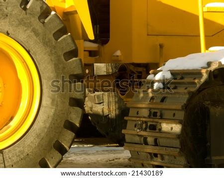 Parking of heavy building technics - stock photo