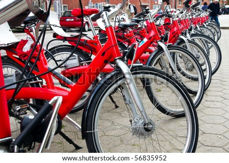 parking of the red bicycles in Europe - stock photo