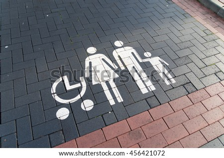 Parking place at a supermarket only for families with babies or young children