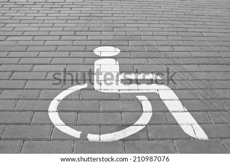 Parking place for disabled - stock photo