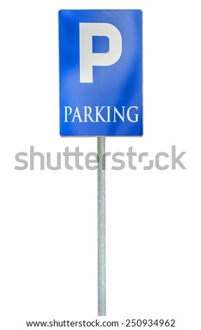 Parking place sign, traffic road roadsign, blue isolated - stock photo