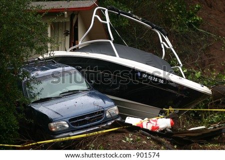 Parking Problem: Mudslide Aftermath - stock photo